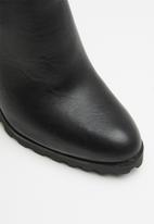ALDO - Leather side elastic slip-on ankle boot - black