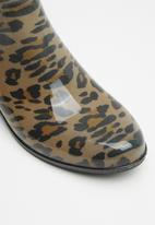 ALDO - Leopard print chelsea rain boots - black & beige