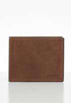 Fossil - Derrick bifold with flip ID - brown