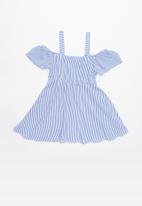 POP CANDY - Cold shoulder dress - blue & white