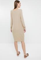 G Couture - V neck knit dress - beige