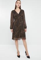 G Couture - Spot chiffon dress - black & brown