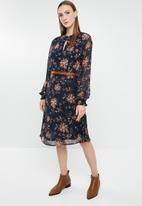 G Couture - Floral chiffon keyhole dress - navy