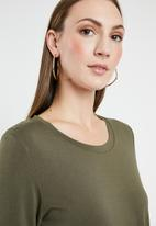 G Couture - Stitch front long sleeve top - green