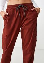 Cotton On - Rolled hem chino - burgundy