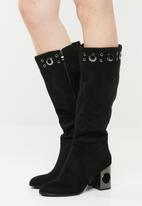Plum - Knee length boot - black