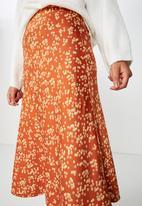 Cotton On - Woven bella midi skirt - disty rust