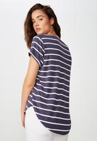 Cotton On - Karly short sleeve top - white & purple