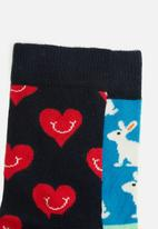 Happy Socks - 2-pack smiley heart socks - multi