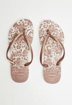 Havaianas - Slim animal flip flops - pink