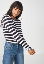 Cotton On - Everyday long sleeve top - white & navy