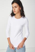 Cotton On - Everyday long sleeve crew neck top - white