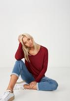 Cotton On - Karly long sleeve top - red