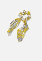 Cotton On - Scarf floral scrunchie - yellow & white