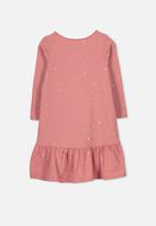Cotton On - Joss long sleeve dress - pink & gold