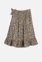 Cotton On - Ria ruffle natural animal midi skirt - brown & black