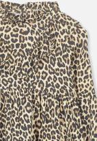 Cotton On - Laura long sleeve leopard print dress - brown & black