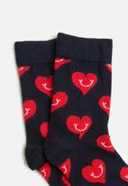 Happy Socks - Smiley heart sock - navy & red