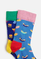 Happy Socks - 2-pack hamburger socks - multi