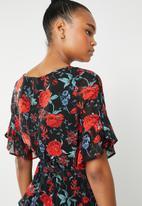 Revenge - Rose flutter sleeve dress - multi