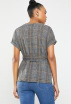 New Look - Check print belted top - grey & orange