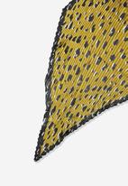 Cotton On - Soho broadway pleat penny animal scarf - green & black