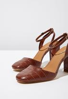 Cotton On - Croc faux leather square toe heel - brown