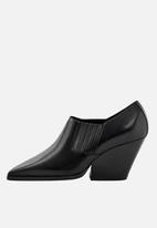 MANGO - Leather ankle boot - black
