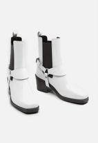 MANGO - Music 1 leather ankle boot - white