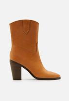 MANGO - Cowboy leather boot - tan