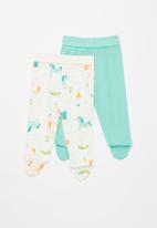 Baby Corner - Unicorn 2 pack footed pants - multi-colour