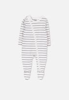 Cotton On - Mini zip through stripe romper - white & grey