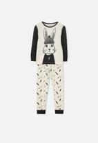 Cotton On - Harry boys long sleeve street bunny 2 pyjama set - cream & black