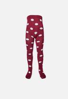 Cotton On - Tilly big spot tights - burgundy