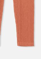 Cotton On - Huggie cable texture tights - peach