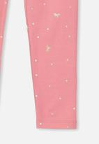 Cotton On - Huggie unicorn spot tights - pink & gold