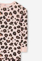 Cotton On - Shae girls long sleeve waffle animal pyjama set  - pink & brown