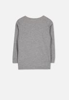 Cotton On - Tom long sleeve tee - grey & white