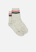 Cotton On - Chunky knit striped crew - navy & red