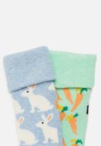 Happy Socks - 2-pack bunny terry socks - multi