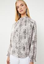 Superbalist - Elasticated hi neck blouse - grey