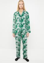 Superbalist - Sleep shirt & pants set - green & white