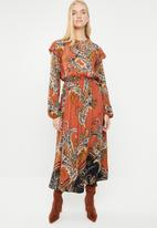 Superbalist - Peasant dress with ruffle - multi