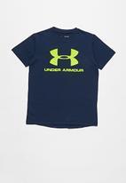 Under Armour - Sportstyle logo short sleeve top - navy & yellow