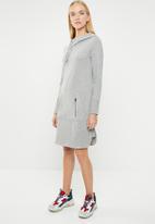 ONLY - June long sleeve hoodie dress - grey