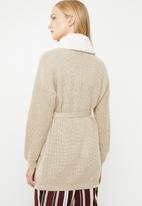 Superbalist - Knit robe with soft collar - neutral