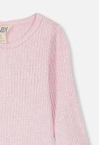 Cotton On - Long sleeve button bubbysuit - pink