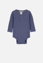 Cotton On - Long sleeve button bubbysuit - navy