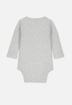 Cotton On - Long sleeve button bubbysuit - grey