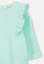 Cotton On - Sara ruffle long sleeve top - green